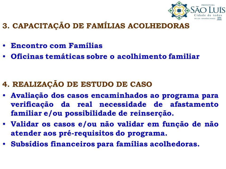 3. CAPACITAÇÃO DE FAMÍLIAS ACOLHEDORAS Encontro com Famílias Oficinas temáticas sobre o acolhimento familiar 4. REALIZAÇÃO DE ESTUDO DE CASO Avaliação