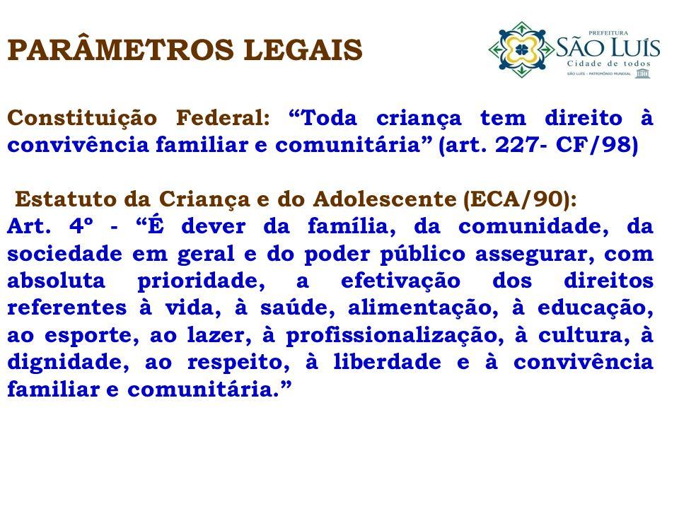 PARÂMETROS LEGAIS Constituição Federal: Toda criança tem direito à convivência familiar e comunitária (art. 227- CF/98) Estatuto da Criança e do Adole