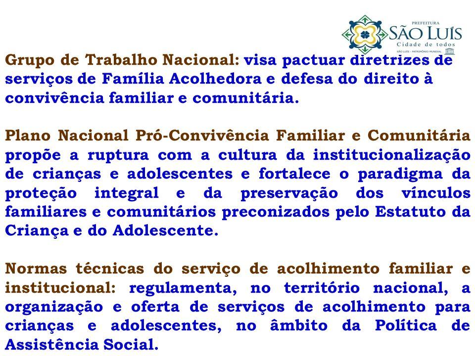 Grupo de Trabalho Nacional: visa pactuar diretrizes de serviços de Família Acolhedora e defesa do direito à convivência familiar e comunitária. Plano