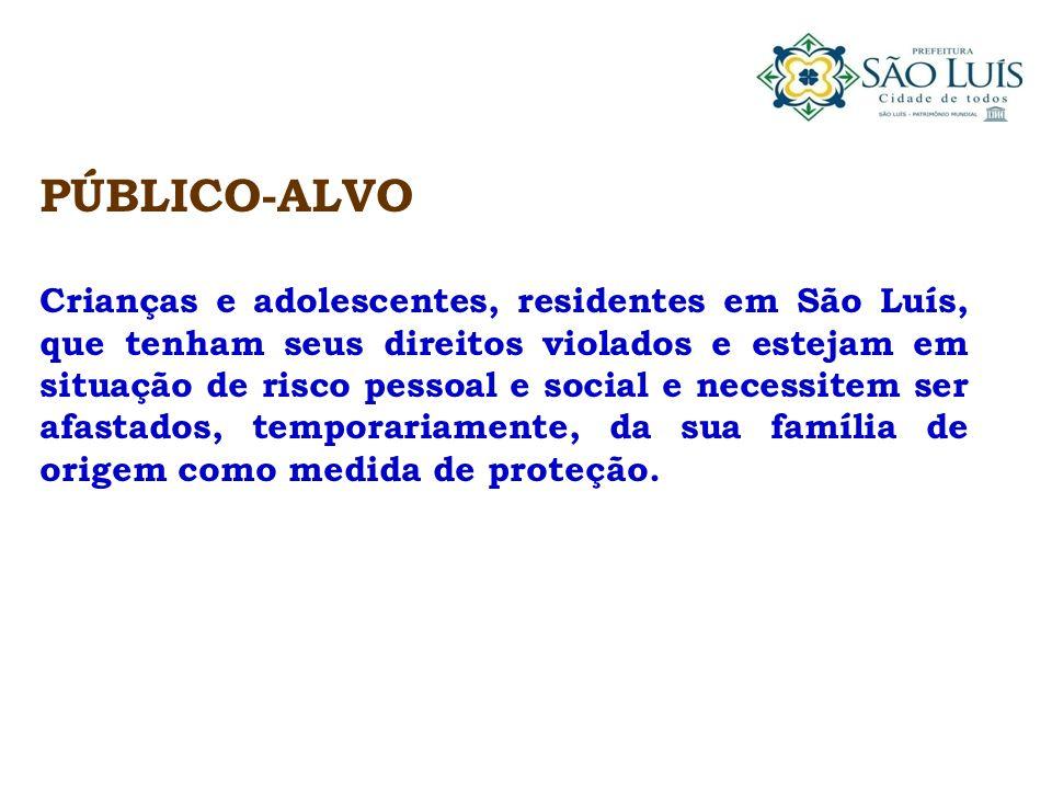 PÚBLICO-ALVO Crianças e adolescentes, residentes em São Luís, que tenham seus direitos violados e estejam em situação de risco pessoal e social e nece