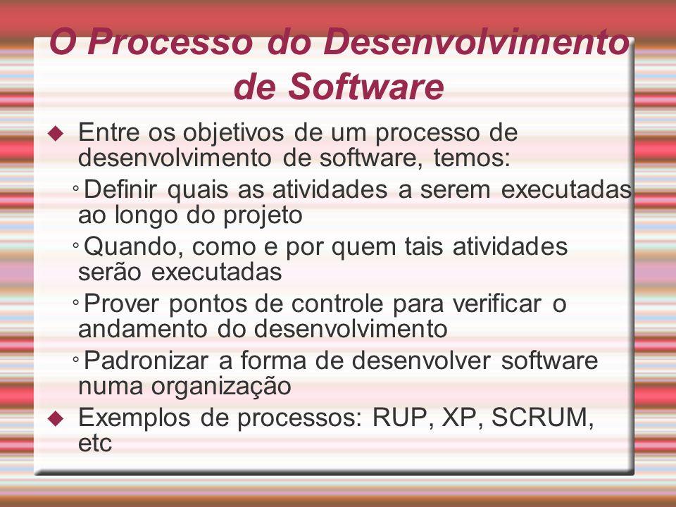 O Processo do Desenvolvimento de Software Entre os objetivos de um processo de desenvolvimento de software, temos: Definir quais as atividades a serem