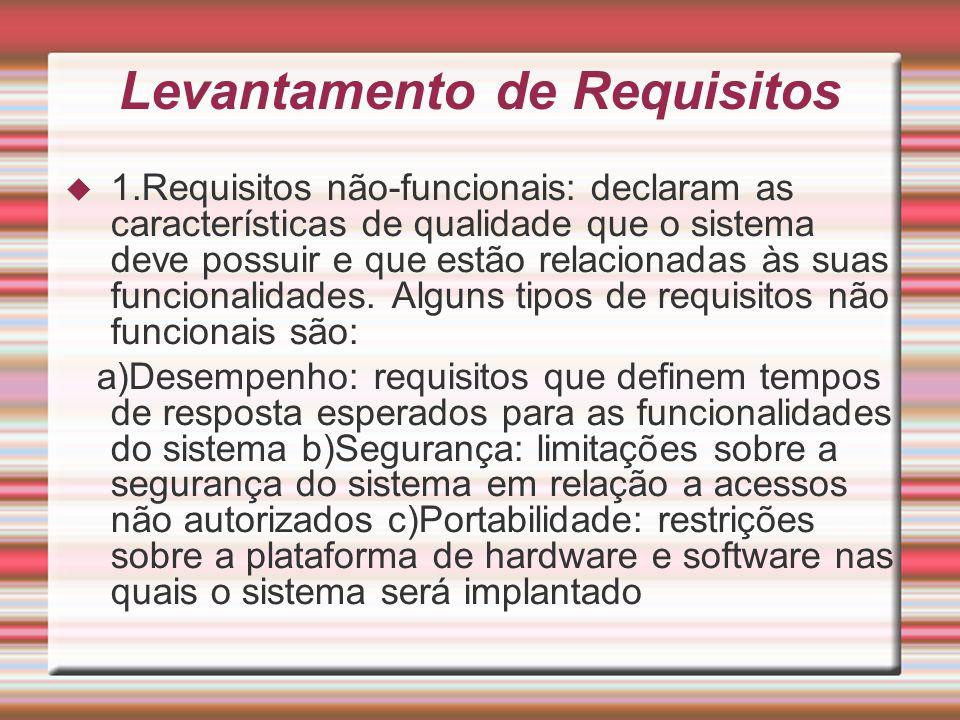 Levantamento de Requisitos 1.Requisitos não-funcionais: declaram as características de qualidade que o sistema deve possuir e que estão relacionadas à