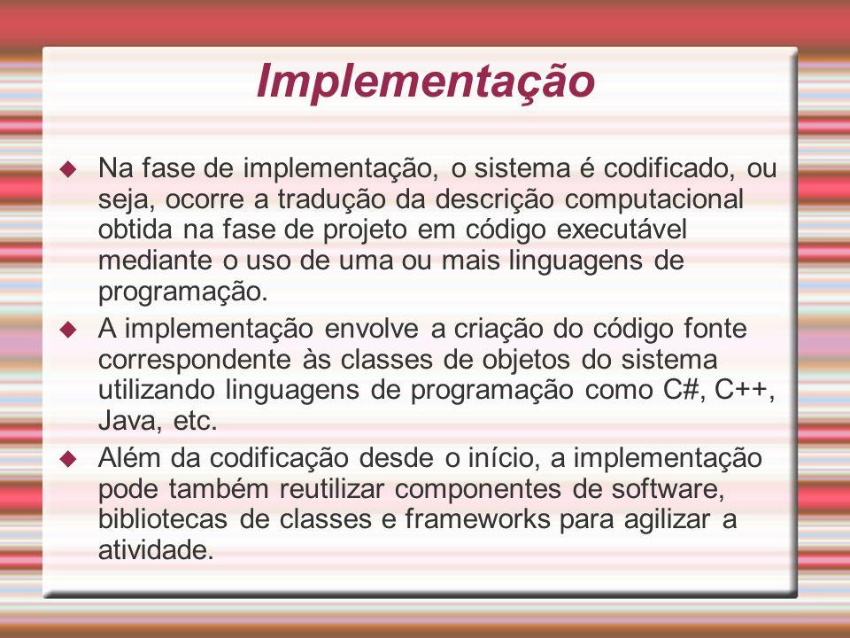 Implementação Na fase de implementação, o sistema é codificado, ou seja, ocorre a tradução da descrição computacional obtida na fase de projeto em cód