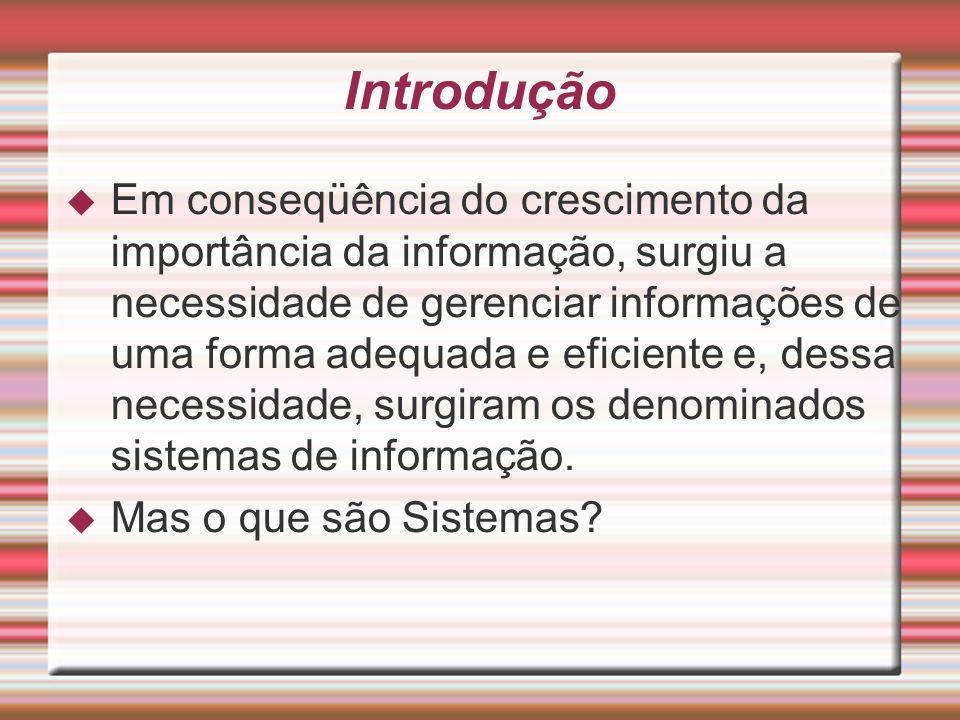 Introdução Em conseqüência do crescimento da importância da informação, surgiu a necessidade de gerenciar informações de uma forma adequada e eficient