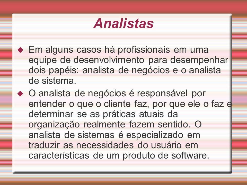 Analistas Em alguns casos há profissionais em uma equipe de desenvolvimento para desempenhar dois papéis: analista de negócios e o analista de sistema