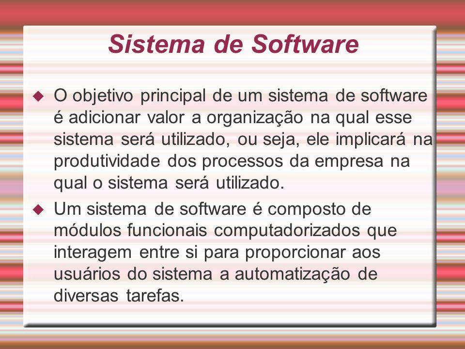 Sistema de Software O objetivo principal de um sistema de software é adicionar valor a organização na qual esse sistema será utilizado, ou seja, ele i