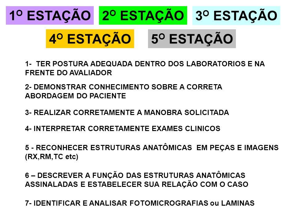 5 - RECONHECER ESTRUTURAS ANATÔMICAS EM PEÇAS E IMAGENS (RX,RM,TC etc) 2 O ESTAÇÃO 3 O ESTAÇÃO 4 O ESTAÇÃO5 O ESTAÇÃO 7- IDENTIFICAR E ANALISAR FOTOMI