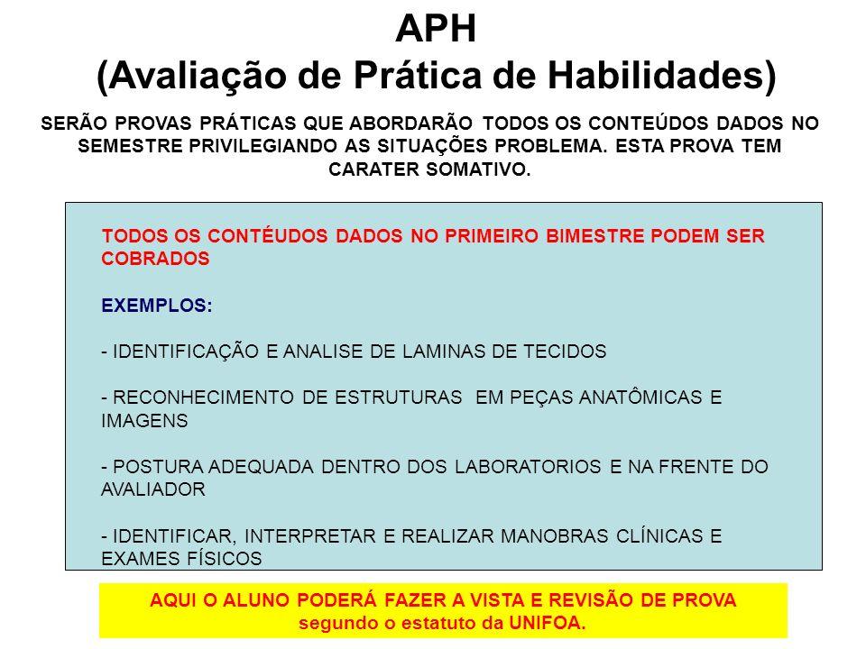 APH (Avaliação de Prática de Habilidades) SERÃO PROVAS PRÁTICAS QUE ABORDARÃO TODOS OS CONTEÚDOS DADOS NO SEMESTRE PRIVILEGIANDO AS SITUAÇÕES PROBLEMA