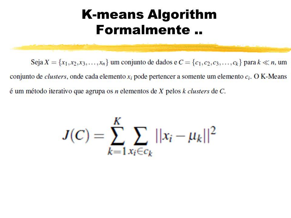 K-means Algorithm Formalmente..