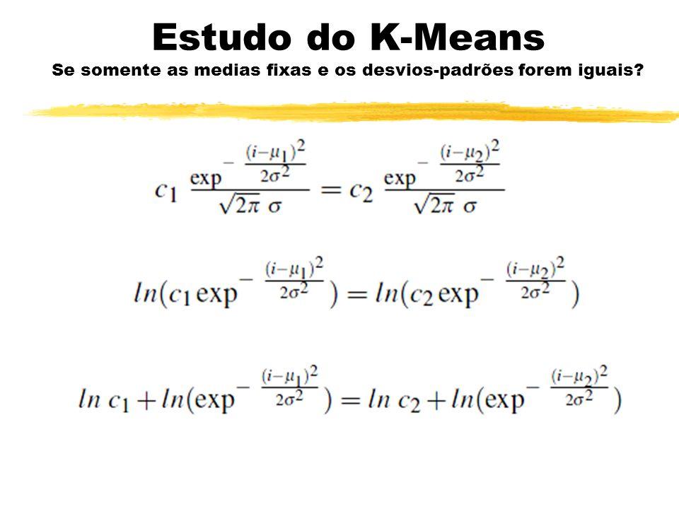 Estudo do K-Means Se somente as medias fixas e os desvios-padrões forem iguais?