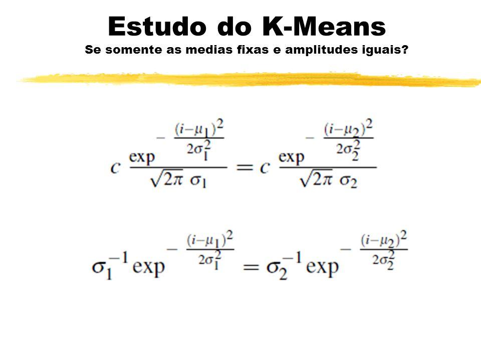 Estudo do K-Means Se somente as medias fixas e amplitudes iguais?