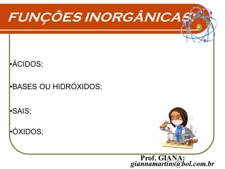 FUNÇÕES INORGÂNICAS: ÁCIDOS; BASES OU HIDRÓXIDOS; SAIS; ÓXIDOS; giannamartins@bol.com.br Prof. GIANA: