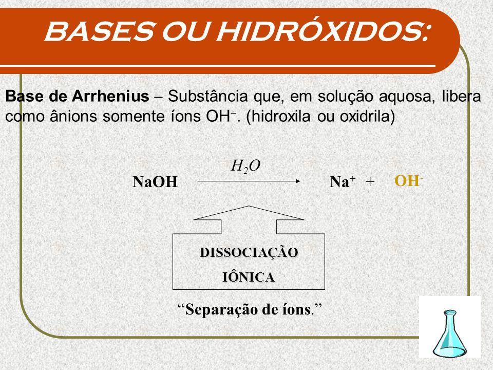 BASES OU HIDRÓXIDOS: Base de Arrhenius Substância que, em solução aquosa, libera como ânions somente íons OH. (hidroxila ou oxidrila) H2OH2O NaOH OH -