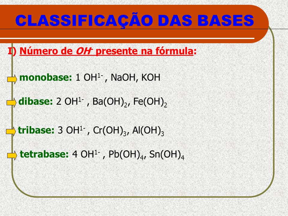 CLASSIFICAÇÃO DAS BASES monobase: 1 OH 1-, NaOH, KOH tribase: 3 OH 1-, Cr(OH) 3, Al(OH) 3 dibase: 2 OH 1-, Ba(OH) 2, Fe(OH) 2 tetrabase: 4 OH 1-, Pb(O