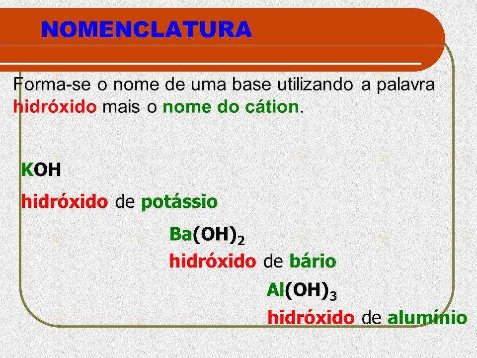 NOMENCLATURA Forma-se o nome de uma base utilizando a palavra hidróxido mais o nome do cátion. hidróxido de potássio hidróxido de bário hidróxido de a