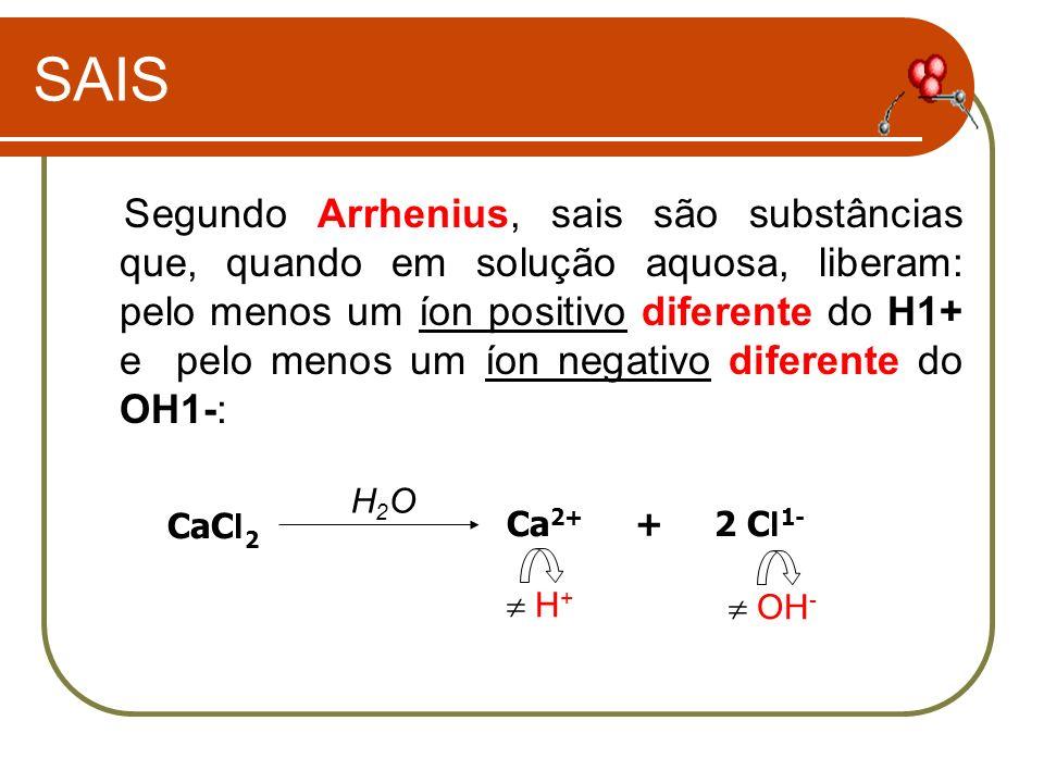 SAIS Segundo Arrhenius, sais são substâncias que, quando em solução aquosa, liberam: pelo menos um íon positivo diferente do H1+ e pelo menos um íon n
