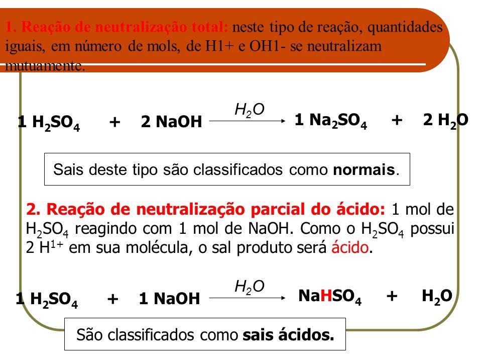 1 Na 2 SO 4 + 2 H 2 O 1 H 2 SO 4 + 2 NaOH H2OH2O Sais deste tipo são classificados como normais. NaHSO 4 + H 2 O 1 H 2 SO 4 + 1 NaOH H2OH2O São classi