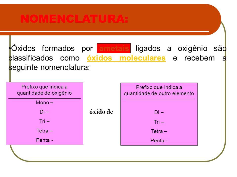 Óxidos formados por ametais ligados a oxigênio são classificados como óxidos moleculares e recebem a seguinte nomenclatura: Prefixo que indica a quant