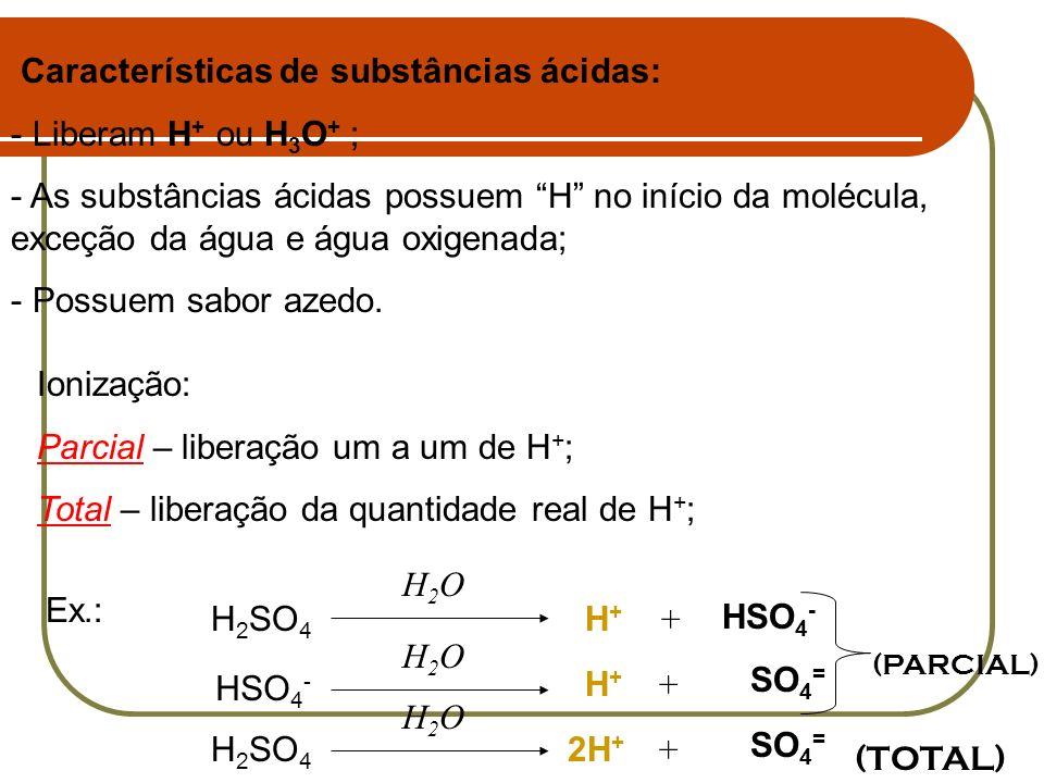 Características de substâncias ácidas: - Liberam H + ou H 3 O + ; - As substâncias ácidas possuem H no início da molécula, exceção da água e água oxig