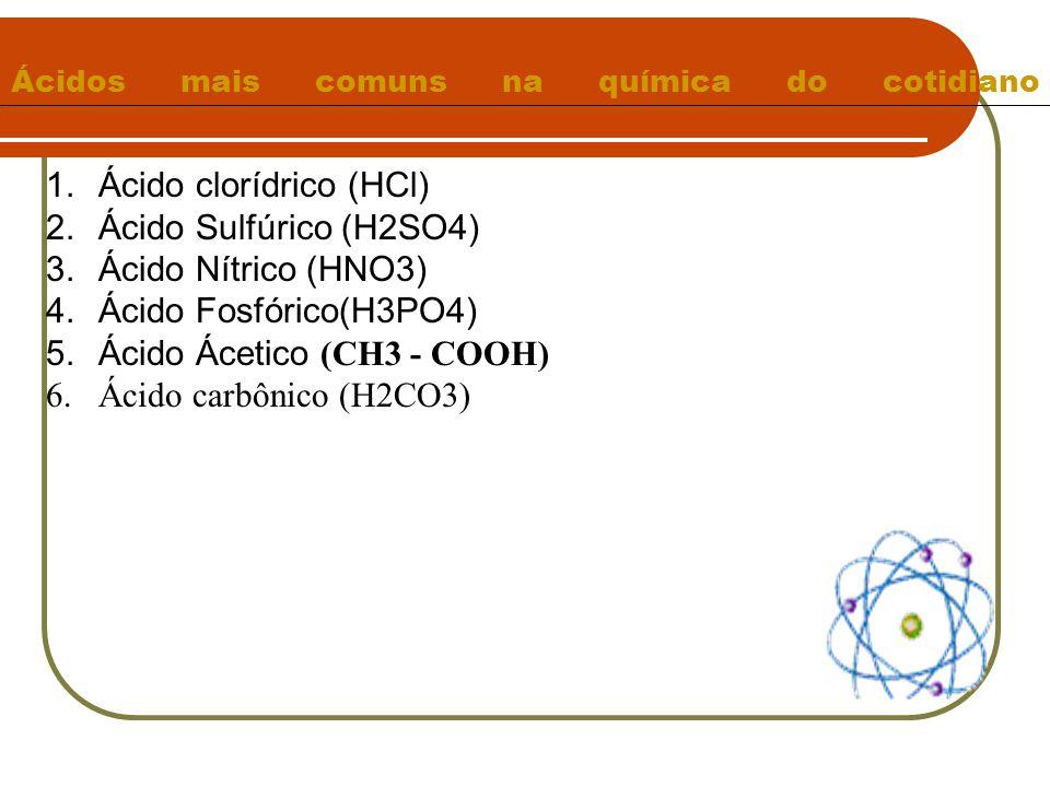 Ácidos mais comuns na química do cotidiano 1.Ácido clorídrico (HCl) 2.Ácido Sulfúrico (H2SO4) 3.Ácido Nítrico (HNO3) 4.Ácido Fosfórico(H3PO4) 5.Ácido