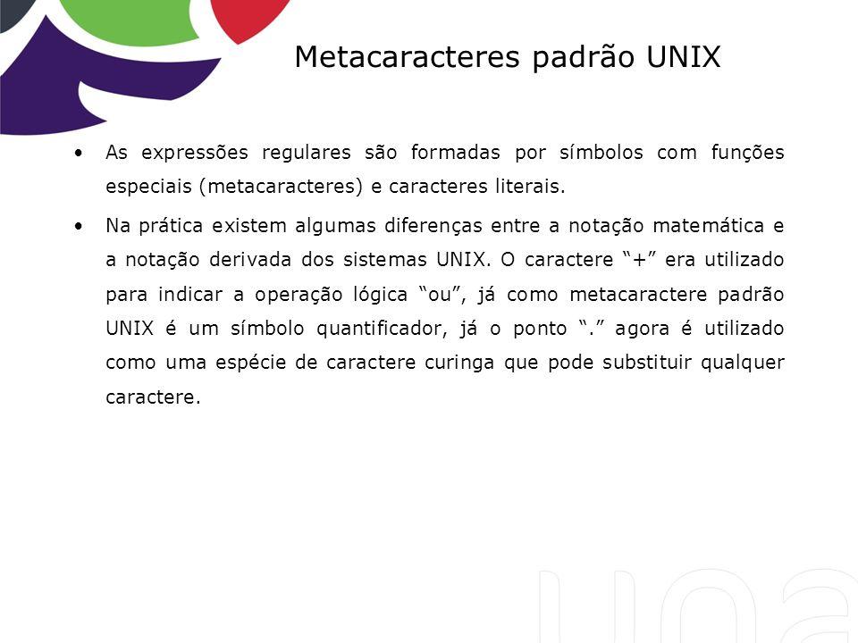 Metacaracteres padrão UNIX As expressões regulares são formadas por símbolos com funções especiais (metacaracteres) e caracteres literais. Na prática