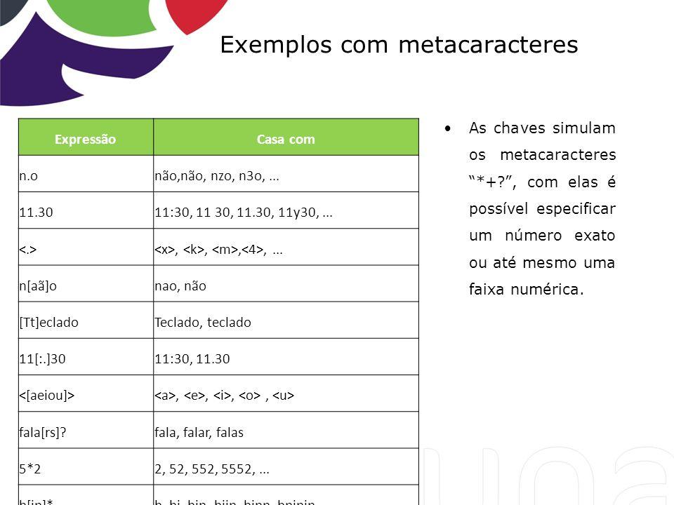 Exemplos com metacaracteres As chaves simulam os metacaracteres *+?, com elas é possível especificar um número exato ou até mesmo uma faixa numérica.