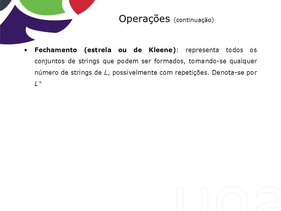 Operações (continuação) Fechamento (estrela ou de Kleene): representa todos os conjuntos de strings que podem ser formados, tomando-se qualquer número
