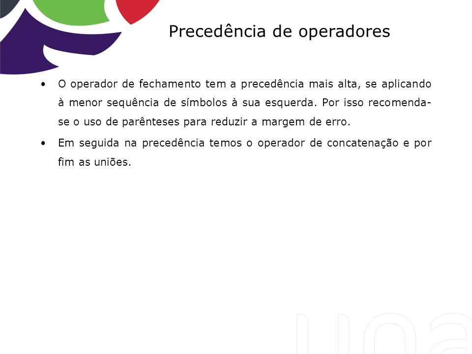 Precedência de operadores O operador de fechamento tem a precedência mais alta, se aplicando à menor sequência de símbolos à sua esquerda. Por isso re