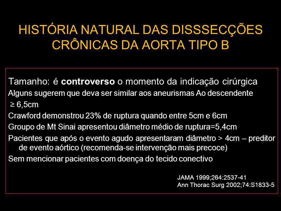 HISTÓRIA NATURAL DAS DISSSECÇÕES CRÔNICAS DA AORTA TIPO B Tamanho: é controverso o momento da indicação cirúrgica Alguns sugerem que deva ser similar