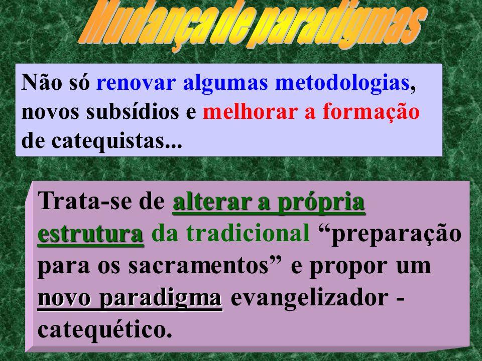 14 Não só renovar algumas metodologias, novos subsídios e melhorar a formação de catequistas... alterar a própria estrutura novo paradigma Trata-se de
