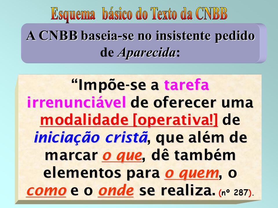 15 A CNBB baseia-se noinsistente pedido Aparecida A CNBB baseia-se no insistente pedido de Aparecida: Impõe-se atarefa irrenunciávelde oferecer uma mo