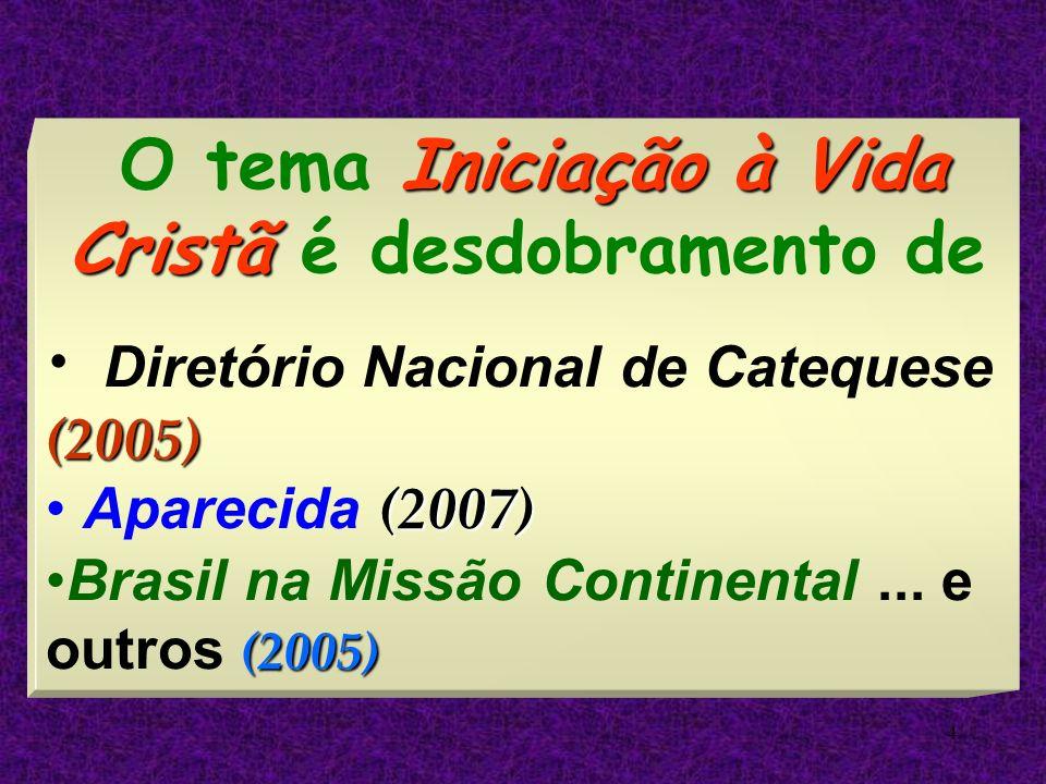 4 Iniciação à Vida Cristã O tema Iniciação à Vida Cristã é desdobramento de (2005) Diretório Nacional de Catequese (2005) (2007) Aparecida (2007) (200