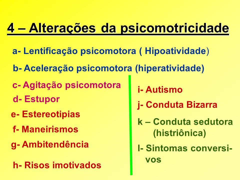 4 – Alterações da psicomotricidade a- Lentificação psicomotora ( Hipoatividade) b- Aceleração psicomotora (hiperatividade) c- Agitação psicomotora d-