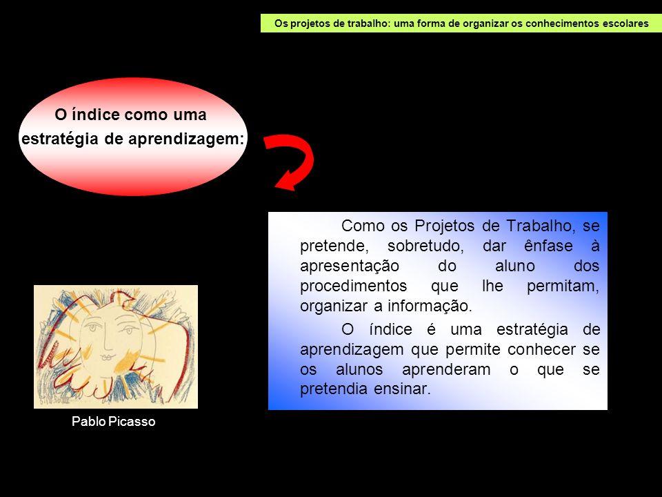 Como os Projetos de Trabalho, se pretende, sobretudo, dar ênfase à apresentação do aluno dos procedimentos que lhe permitam, organizar a informação. O