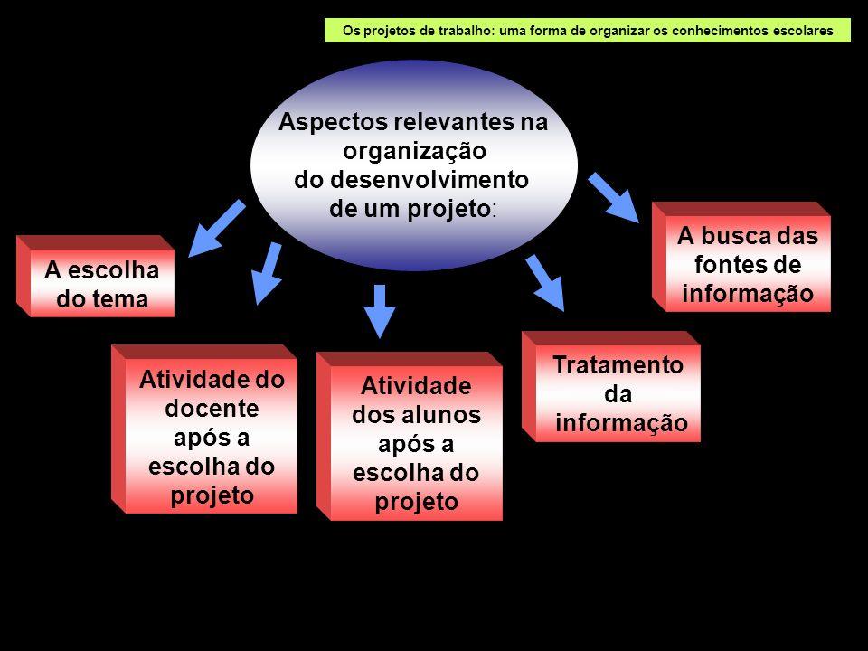 Aspectos relevantes na organização do desenvolvimento de um projeto: A escolha do tema Os projetos de trabalho: uma forma de organizar os conhecimento