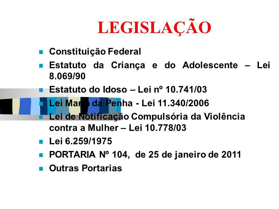 LEGISLAÇÃO Constituição Federal Estatuto da Criança e do Adolescente – Lei 8.069/90 Estatuto do Idoso – Lei nº 10.741/03 Lei Maria da Penha - Lei 11.3