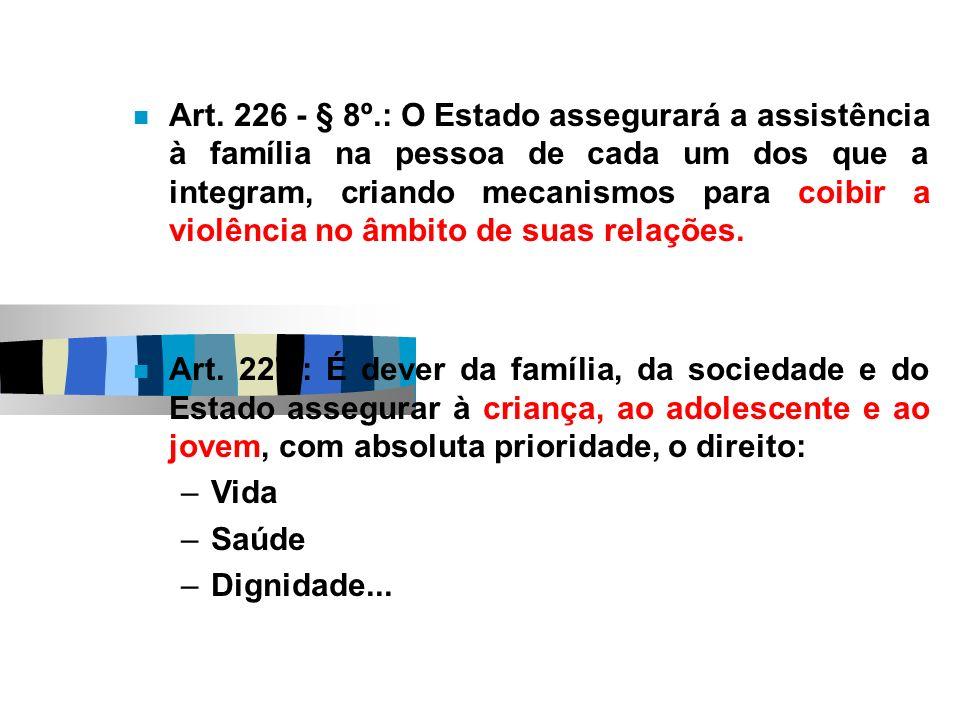 Art. 226 - § 8º.: O Estado assegurará a assistência à família na pessoa de cada um dos que a integram, criando mecanismos para coibir a violência no â