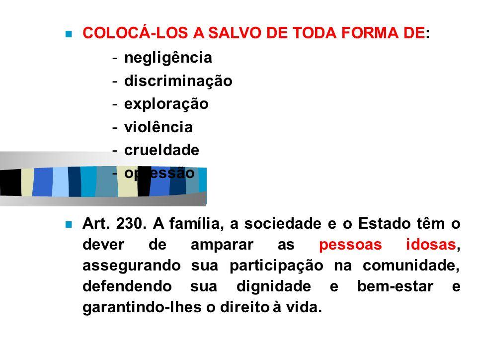 COLOCÁ-LOS A SALVO DE TODA FORMA DE: -negligência -discriminação -exploração -violência -crueldade -opressão Art. 230. A família, a sociedade e o Esta