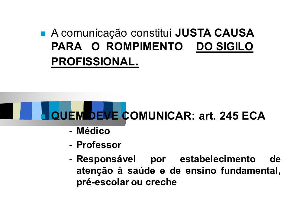A comunicação constitui JUSTA CAUSA PARA O ROMPIMENTO DO SIGILO PROFISSIONAL. QUEM DEVE COMUNICAR: art. 245 ECA -Médico -Professor -Responsável por es