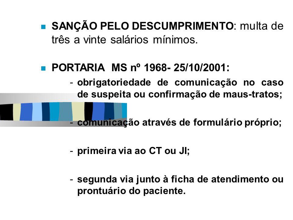 SANÇÃO PELO DESCUMPRIMENTO : multa de três a vinte salários mínimos. PORTARIA MS nº 1968- 25/10/2001 : -obrigatoriedade de comunicação no caso de susp