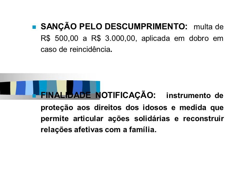 SANÇÃO PELO DESCUMPRIMENTO : multa de R$ 500,00 a R$ 3.000,00, aplicada em dobro em caso de reincidência. FINALIDADE NOTIFICAÇÃO : instrumento de prot