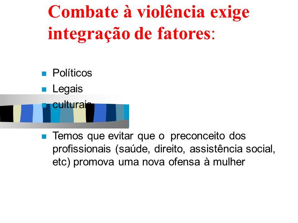 Combate à violência exige integração de fatores: Políticos Legais culturais Temos que evitar que o preconceito dos profissionais (saúde, direito, assi