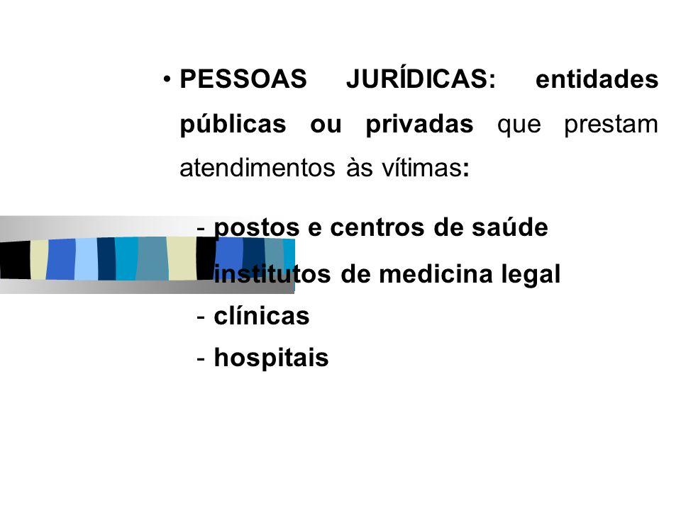 PESSOAS JURÍDICAS: entidades públicas ou privadas que prestam atendimentos às vítimas: -postos e centros de saúde -institutos de medicina legal -clíni