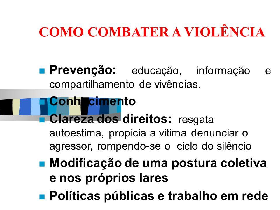 COMO COMBATER A VIOLÊNCIA Prevenção: educação, informação e compartilhamento de vivências. Conhecimento Clareza dos direitos: resgata autoestima, prop