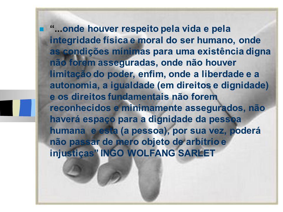 ...onde houver respeito pela vida e pela integridade física e moral do ser humano, onde as condições mínimas para uma existência digna não forem asseg