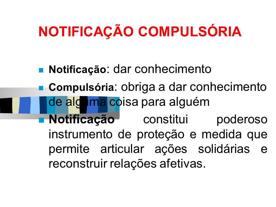 NOTIFICAÇÃO COMPULSÓRIA Notificação : dar conhecimento Compulsória : obriga a dar conhecimento de alguma coisa para alguém Notificação constitui poder