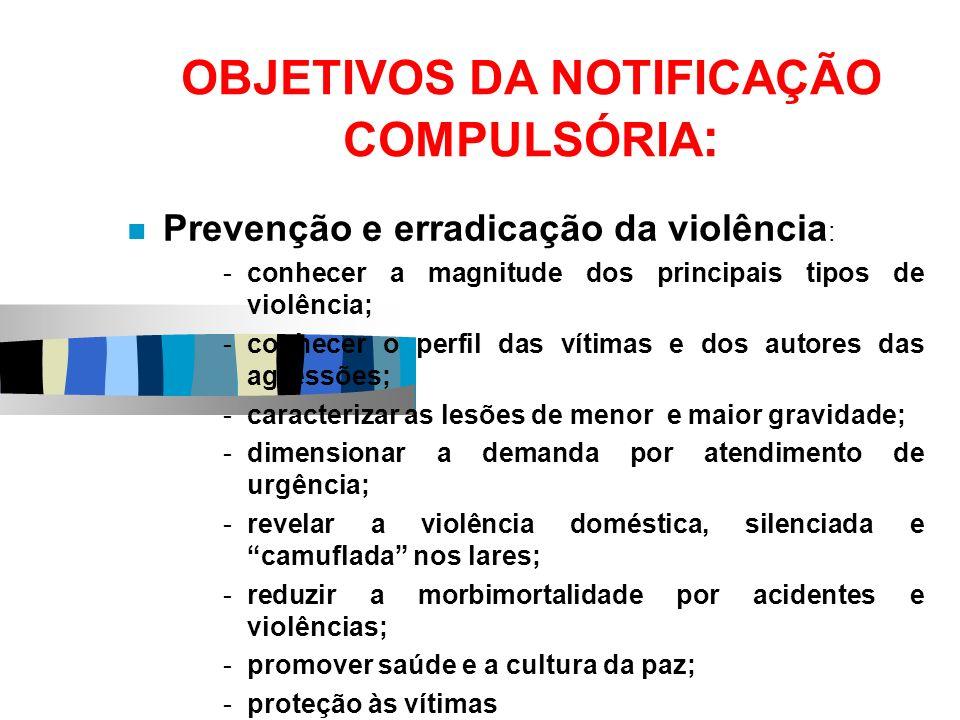 OBJETIVOS DA NOTIFICAÇÃO COMPULSÓRIA : Prevenção e erradicação da violência : -conhecer a magnitude dos principais tipos de violência; -conhecer o per