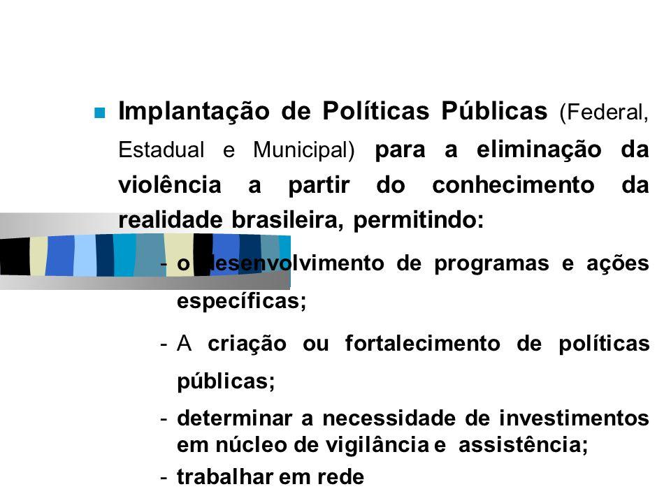 Implantação de Políticas Públicas (Federal, Estadual e Municipal) para a eliminação da violência a partir do conhecimento da realidade brasileira, per