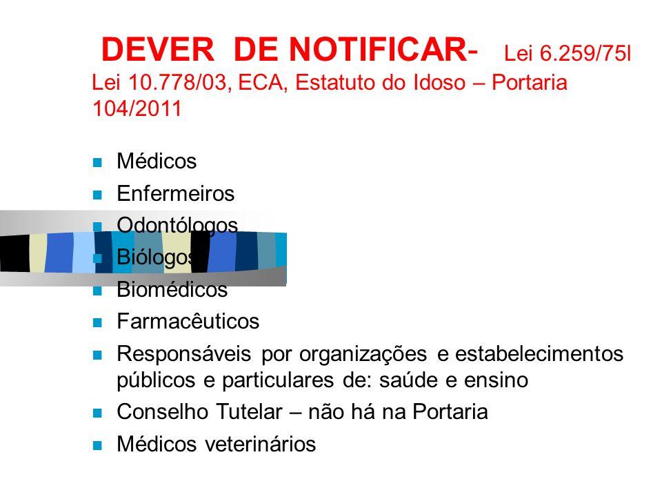 DEVER DE NOTIFICAR- Lei 6.259/75l Lei 10.778/03, ECA, Estatuto do Idoso – Portaria 104/2011 Médicos Enfermeiros Odontólogos Biólogos Biomédicos Farmac