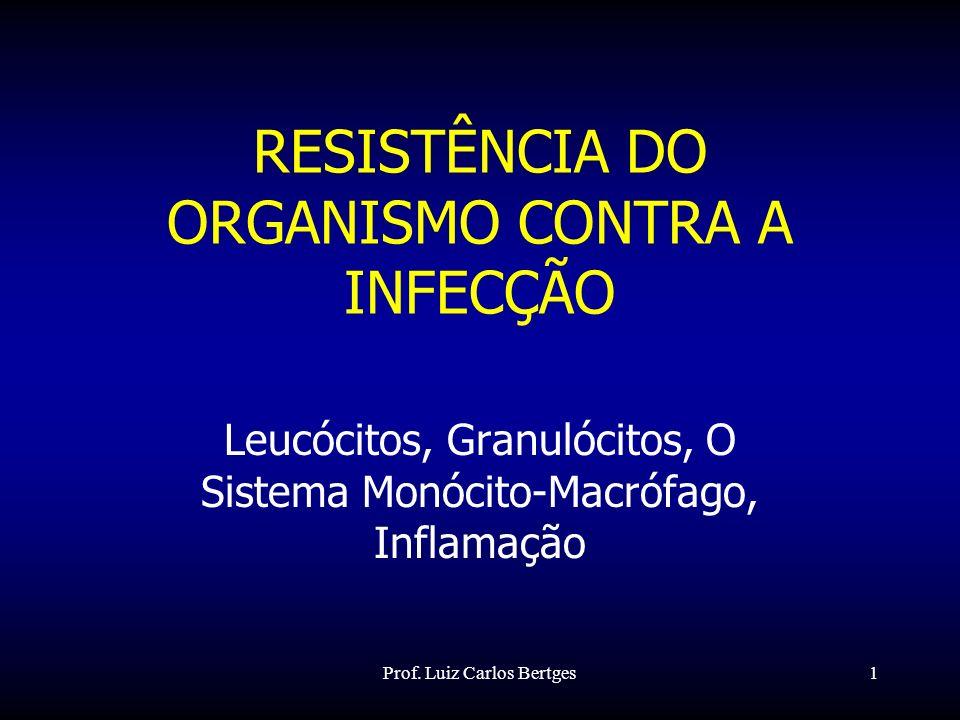 Prof. Luiz Carlos Bertges1 RESISTÊNCIA DO ORGANISMO CONTRA A INFECÇÃO Leucócitos, Granulócitos, O Sistema Monócito-Macrófago, Inflamação